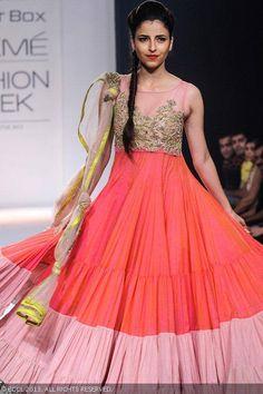 A model displays a creation by designer Anushree Reddy on Day 6 of the Lakme Fashion Week Winter/Festive 2013. #Fashion #Style #LFW