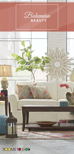 Whether your home is coastal or in the city, the Beachside sofa brings you the casual comfort of a resort hideaway. Visit Rooms To Go now to see this bohemian living room and many more!