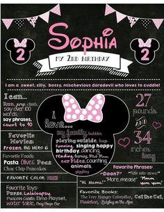 Birthday Poster - 2nd Birthday Chalkboard - Chalkboard Birthday Sign - Minnie Mouse Birthday Sign Poster Chalkboard