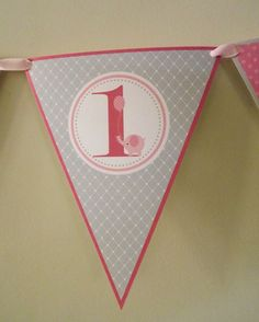 Pink Elephant Birthday Party Banner