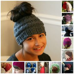 12 FREE knit patterns -- the MESSY BUN BEANIE / PONYTAIL HAT phenomenon is real - everyone is asking for one! #ponytailhat #messybun #knit #knitting