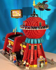 Good news everyone! Someone made a LEGO version of the Planet Express HQ from Futurama.