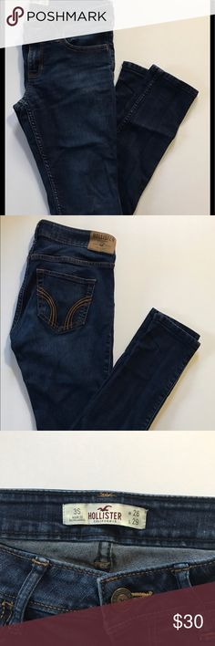 Hollister Skinny Jeans Gently used Hollister jeans. The length of the legs are short, the measurements for the length and waist are on the tag in the picture above. Great jeans only worn a few times. Hollister Jeans Skinny
