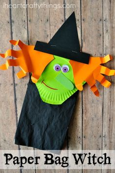 Paper Bag Halloween Witch Craft for Kids. Make spooky Halloween crafts with your kids using paper bags, construction paper, scissors, and glue!