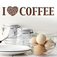 """Style and Apply I Love Coffee Wall Decal Size: 17"""" H x 59"""" W, Color: Royal Blue"""