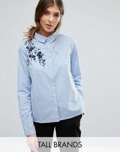 Рубашка в тонкую полоску с вышивкой Vero Moda Tall