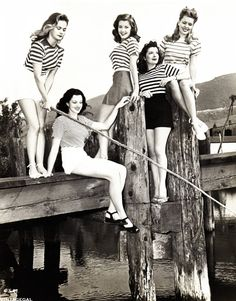 Breton striped tops in the mid 1940s on film actresses Barbara Bates, Karen Randle, Poni Adams, Kerry Vaughn and Jean Trent around 1945  #1940s #fashion