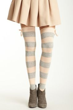 Betsey Johnson Legwear - Betsey Banded Stirrup Over-the-Knee Sock. These very girly cotton blend socks are toeless (but cover the heel/foot snugly). The wide stripes, ribbed trim, and lace bow detail are so fun you'll want to wear them just to please yourself!  $10