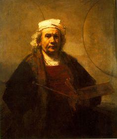 """Rembrandt, """"L'autoportrait aux deux cercles""""  Une oeuvre postérieure de quarante années par rapport au premier portrait. """"Un peintre irradiant de confiance"""" (Twyla Tharp, p.239)"""