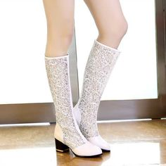 42.79$  Watch now - http://aidxc.worlditems.win/all/product.php?id=32786493961 - 2014 Summer Long Tall hollow out mesh fish head boots women's thick crust high heeled Transparent knee-high wedges boots H2660