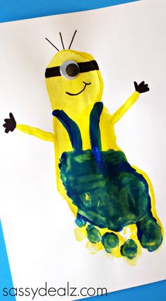 Minion Footprint Craft for Kids (Despicable Me) | CraftyMorning.com