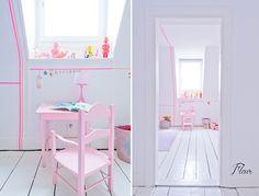 Neon pink stripes / girl's room