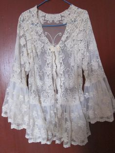 RESERVED..vintage inspired soft cotton jacket with ruffles of lace. and butterfly details....