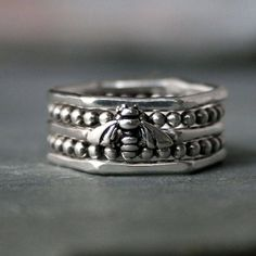 Sterling Silver Honey Bee Stacking Rings, Set of 5 Five Rings, Bead Bands Hexagon Bumble Bee, Stackable Botanical Silver Stacking Rings, Sterling Silver Rings, Bee Ring, Wide Band Rings, Honey, Bee Keeping, Beehive, Avery Jewelry, Jewelry Box