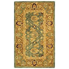 Safavieh Anatolia Collection AN549B Handmade Teal Blue and Taupe Wool Area Rug, 3 feet by 5 feet (3′ x 5′)