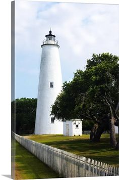 Alan Hausenflock Solid-Faced Canvas Print Wall Art Print entitled Ocracoke Lighthouse, None Beautiful Lights, Beautiful Places, Ocracoke Lighthouse, Places To Travel, Places To Visit, Beacon Of Light, Building Art, Light Of The World, Water Tower