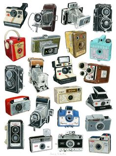 Vintage Cameras Old cameras print. Antique Cameras, Old Cameras, Vintage Cameras, Photography Camera, Vintage Photography, Love Photography, Poster Photography, Photography Classes, Camera Drawing