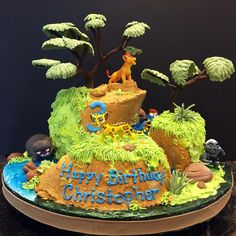 Lion guard birthday cake. All parts edible except purchased figurines and hand made trees.