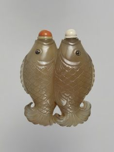 Princeton University Art Museum Chalcedony double-carp snuff bottle h. with stoppers cm. Bequest of Col. James A. Carp, China, Art Museum, Objects, Porcelain, Fish, Dragons, Cool Stuff, Bottles