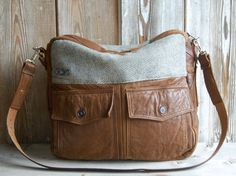 Large brown tazetta bag made from a vintage leather jacket. $195
