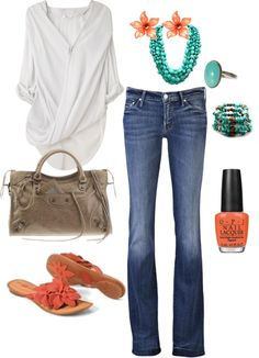 """coral and turquoise"" by kristen-344 on Polyvore"