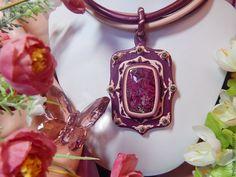 Купить Колье из кожи с эвдиалитом Рубиновый цвет - колье из кожи, Кожаное колье