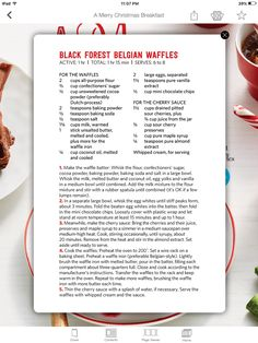 Pin by brandi montgomery on food pinterest recipe cards food black forest belgian waffles from food network magazine forumfinder Choice Image