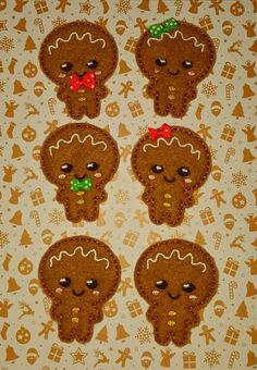 Cute Ginger bread man Christmas kawaii happy face pattern embroidery In the hoop design file ITH clippie feltie by TheHoopBooteek on Etsy