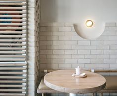 _ _ Interior Inspiration _ Matt Woods' beautiful design for The Dessert Kitchen in Sydney. _ Feeling inspired by brick and semi-circles for a project I'm currently working on. you are seriously talented _ Brick And Wood, Contemporary Interior Design, Commercial Interior Design, Interior Inspiration, Interior, Cafe Interior, Minimalist Interior Design, Restaurant Interior, Wood Design