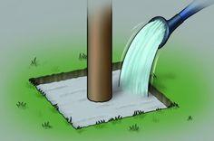 Abbildung einer Gießkanne, die Beton im Fundamentloch mit Wasser benetzt (337px x 224px)