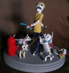 Day of the Dead Sculpture The Dog Walker II by claylindo, via Flickr