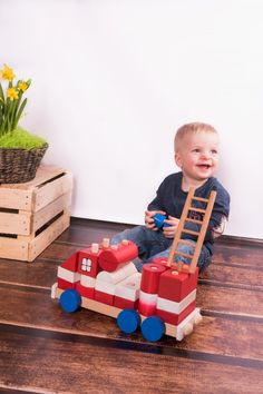 Wooden Fire Truck - Big size in category Wooden vehicles / Wooden Toys Real Fire, Paint Finishes, Made Of Wood, Fire Trucks, Wooden Toys, Little Boys, Hand Painted, Shapes, Big