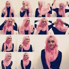 Want to know how to make hijab in different style at home. Then, here are the 9 best hijab styles step by step to make your own. Simple Hijab Tutorial, Hijab Simple, Hijab Style Tutorial, Hijab Chic, Stylish Hijab, Islamic Fashion, Muslim Fashion, Hijab Fashion, Beau Hijab