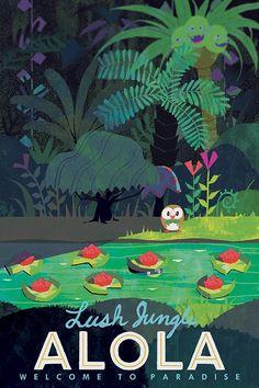 Pokemon Sun and Moon: Jungle (Print) by chuwenjie Pokemon Poster, Pokemon Fan Art, Pokemon Alola, Pokemon Games, Pokemon Stuff, Pikachu, Lugia, Tourism Poster, Jungle Print