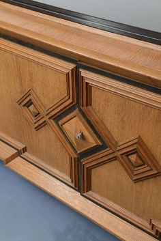 Deco Cubist design Cerused Oak Sideboard by De Coene belgian top marble Wood Cladding, Wood Joinery, Woodworking Furniture Plans, Wood Furniture, Furniture Storage, Deco Buffet, French Art Deco, Solid Wood Platform Bed, Wood Staircase