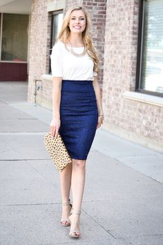 Navy Lace Pencil Skirt - My Sisters Closet