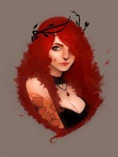 girl drawing Redhead