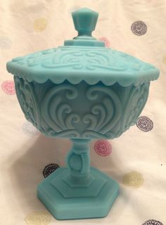 * RARE * Vintage Turquoise Milk Glass Scroll Pedestal Compote Candy Dish w/ Lid in Pottery & Glass, Glass, Glassware, Opaque, Milk-Blue | eBay