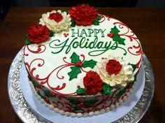 The White Flower Cake Shoppe Christmas Christmas Cake Designs, Christmas Cake Decorations, Christmas Cupcakes, Christmas Sweets, Holiday Cakes, Noel Christmas, Christmas Candles, Christmas Wedding, Holiday Baking