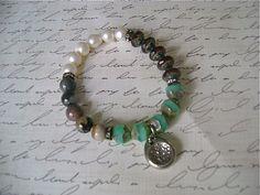 Boho Chic Stretchy Bracelet Handcast Pewter Charm by avintagetwist, $24.00