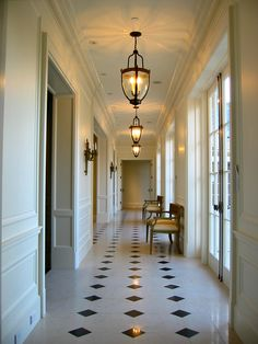 Classic central hall on a French style home I completed in California. www.janeantonacci.com