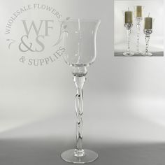 "Twisted Clear Glass Vase/Candle Holder 15.7""  - WholesaleFlowersAndSupplies.com"