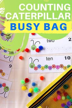 An educational activity with free printable of numbers in Spanish, French and English and get busy counting caterpillars with your toddler at home!  #CountingCaterpillarBusyBag #educationalactivity #freeprintable #numberprintable #caterpillarcountingactivity #countingactivityprintable #FunCountingActivitiesForToddlers