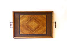 Vintage mid century large heavy solid walnut inlay by evaelena