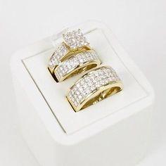10K Yellow Gold Diamond Trio Set His Hers Matching Engagement Ring Wedding Band