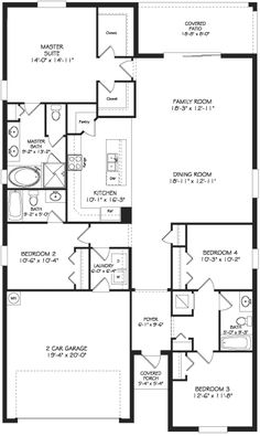Hamilton floor plan availabile in Cortland Woods at Providence: 1 Story / 4 Bedrooms / 3 Baths / Family Room / Living Room / Laundry Room / Covered Front Porch / Rear Covered Patio / 2 Car Garage New House Plans, Dream House Plans, Small House Plans, House Floor Plans, My Dream Home, Bedroom Floor Plans, Building Plans, Building A House, Concord