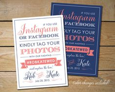 Idea for making own sign, put in frame & set on card table. Printable Social Media Sign If You Instagram by MyCrayonsPapeterie