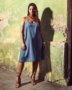 Ashley Graham wearing the L&L Tencel Slip Dress Más