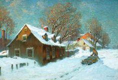Village in Winter (Marc-Aurele de Foy Suzor-Cote - ) Canadian Painters, Canadian Artists, Canvas Art Prints, Fine Art Prints, Canada, Quebec City, Christmas Paintings, Sculpture, Going Home