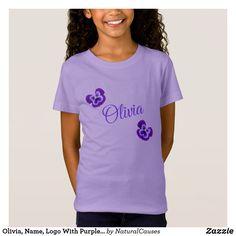 Olivia, Name, Logo With Purple Pansies, T-Shirt
